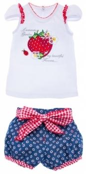 Комплект Garden Baby Ароматная клубника, р.74, белый и джинс (40125-16/39)