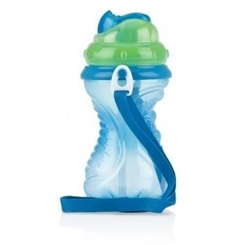 Поильник-непроливайка Nuby Flip-It с упрочненной трубочкой и плечевым ремнем, 420 мл, голубой (10228blugrn) Nuby
