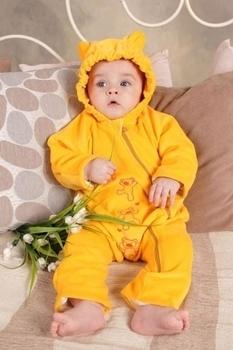 модный карапуз Слингокомбинезон велюровый Модный карапуз My baby желтый, р.74 (03-00388-10)