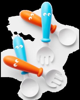 Набор BabyBjorn (2 ложки, 2 вилки), оранжево-голубой BabyBjorn