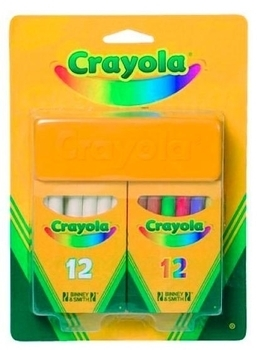 Мелки белые и цветные с губкой (12+12) Crayola (98268) Crayola