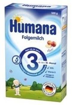 Сухая молочная смесь Humana 3 с пребиотиками галактоолигосахаридами (ГОС) и яблоком, 300 г Humana