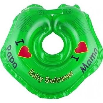 Круг для купания малышей BabySwimmer Я Люблю (от 0 до 24 мес.), зеленый BabySwimmer