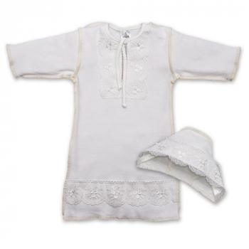 betis Крестильная рубашка для девочки + шапочка BetiS Яночка-2, интерлок, р.86, молочный (27069569)
