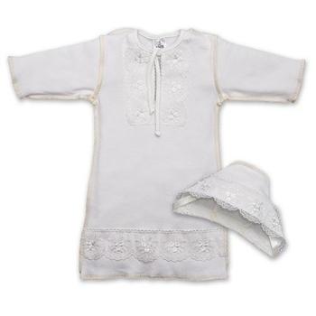 betis Крестильная рубашка для девочки + шапочка BetiS Яночка-2, интерлок, р.68, молочный (27069566)