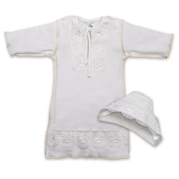 betis Крестильная рубашка для девочки + шапочка BetiS Яночка-2, интерлок, р.62, молочный (27069565)