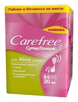 Ежедневные супертонкие прокладки Carefree with Aloe extract, 20 шт. Carefree