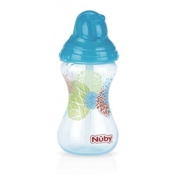 Поильник Nuby Flip-It с силиконовой трубочкой-непроливайкой Clik it, 300 мл, голубой (10241aqua) Nuby
