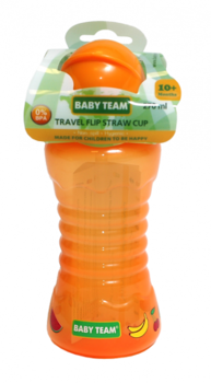 Поильник для путешествий с трубочкой Baby Team, 270 мл, оранжевый (5005) Baby Team
