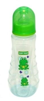 Купить Бутылочки и соски, Бутылочка эргономичной формы с силиконовой соской Baby Team Лягушка, 250 мл (1412), Зеленый