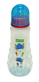 Купить Бутылочки и соски, Бутылочка эргономичной формы с силиконовой соской Baby Team Осьминог, 250 мл (1412), Голубой