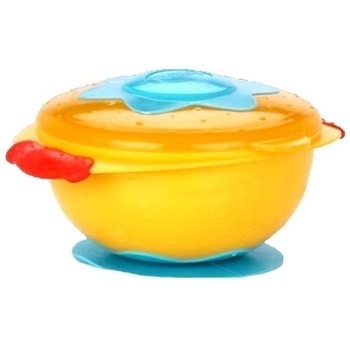 Тарелка Nuby Улет! Посуда! на присоске с крышкой, желтый (5322yllw) Nuby