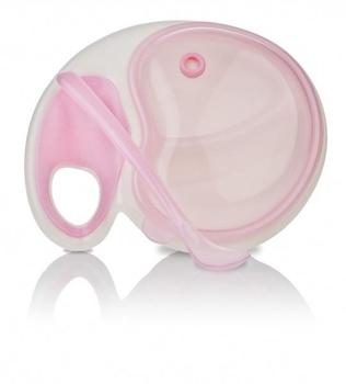 Тарелка 2-х секционная Nuby с держателем для СВЧ-печи, розовый (5312pnk) Nuby