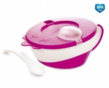 Тарелочка с крышкой и ложкой Canpol Babies, 350 мл, розовый (31/406) Canpol babies