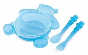 Тарелка Canpol Babies Медвежонок с вилкой и ложкой, синий (2/422) Canpol babies