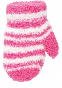 yo! Махровые варежки для девочки YO! в полоску со шнурком, р. 12, розовый (R-89A/GIR/12)