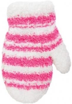 yo! Махровые варежки для девочки YO! в полоску со шнурком, р. 14, белый (R-89A/GIR/14)
