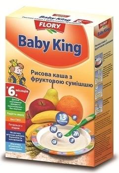 baby king Безмолочная каша Baby King Рисовая с фруктовой смесью, 160 г