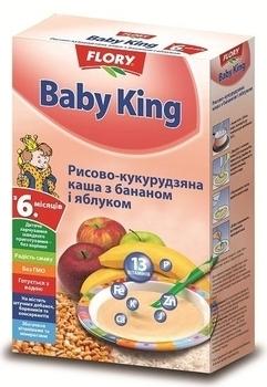 baby king Безмолочная каша Baby King Рисово-кукурузная с бананом и яблоком, 160 г