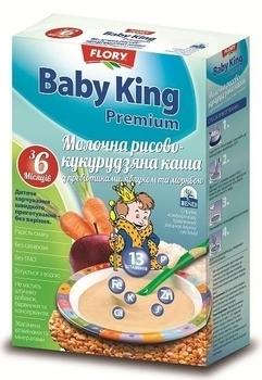 baby king Молочная каша Baby King Премиум Рисово-кукурузная, с яблоком и морковью, 160 г