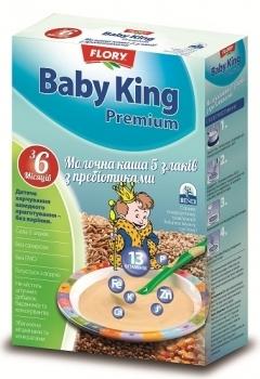 baby king Молочная каша Baby King Премиум 5 злаков с пребиотиками, 160 г