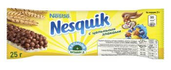 Шоколадный батончик Nesquick с цельными злаками, 25г Nestle