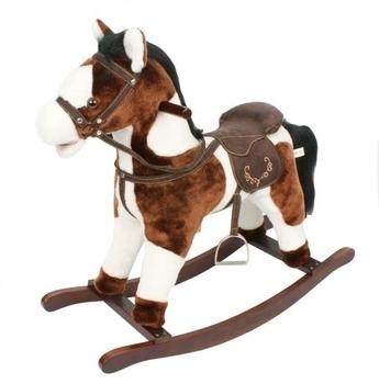 Лошадка-качалка с музыкой Rock my Baby, темно-коричневый с белым Rock my Baby