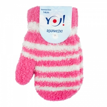 yo! Махровые варежки для девочки YO! со шнурком, р. 14, розовый с белой полоской (R-89A/GIR/12) R-89A/GIR/14 роз