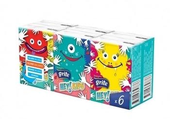 Носовые платочки Grite Hey! Kids!, трехслойные, 6х8 шт. Grite