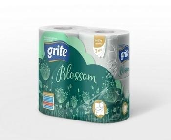 Трехслойная туалетная бумага Grite Blossom, 4 рулона Grite