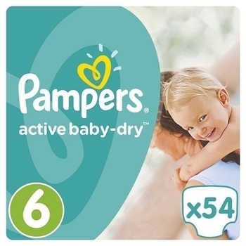 Подгузники Pampers Active Baby-Dry Extra Large 6 (15+ кг) JUMBO PACK 54 шт.