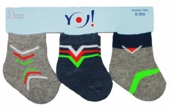 Носки YO! 0-3 мес., 3 пары, серый с синим (SKC/3-PAK/BOY/0-3 СЕРЫЙ С СИНИМ) YO!