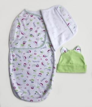Пеленка-кокон и шапочка Маміка Sammer дельфин, интерлок, р. 56-62, белый с зеленым (09021) Маміка