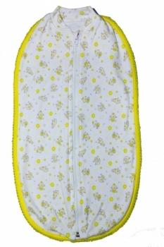 Европеленка на молнии Маміка Малыш, интерлок, белый с желтым (0007) Маміка