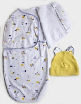 Пеленка-кокон и шапочка Маміка Dear Home, интерлок, р. 56-62, белый с желтым (08911) Маміка