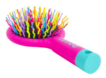 Щетка для волос Tinto силиконовая, ярко-розовый/голубой Tinto