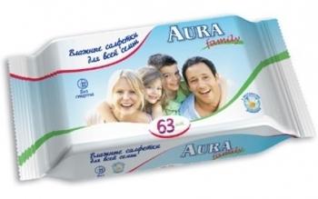 aura Влажные салфетки Aura для всей семьи, 63 шт.