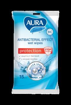 aura Антибактериальные влажные салфетки Aura, 15 шт.