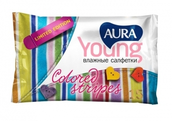 aura Влажные салфетки Aura Young освежающие, 15 шт.