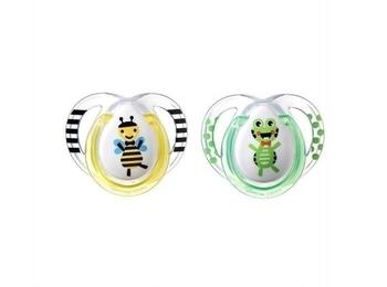 Ортодонтическая пустышка Tommee Tippee Веселые друзья Пчелка и Лягушка (0-6 месяцев), 2 шт. (9552) Tommee Tippee