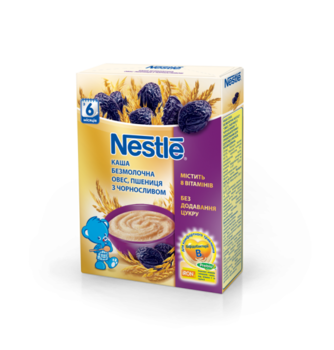 Безмолочная каша Nestle Помогайка Овес, пшеница с черносливом, 200 г Nestle