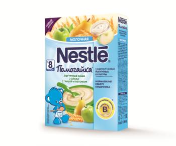 Йогуртная молочная каша Nestle Помогайка 3 злака с грушей и яблоком, 200 г Nestle