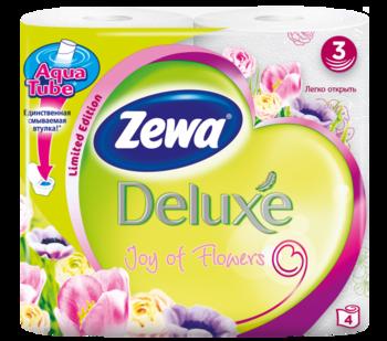 Трехслойная туалетная бумага Zewa Deluxe Joy of Flowers, 4 рулона Zewa