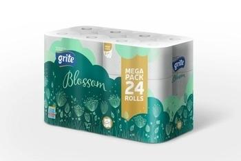 Трехслойная туалетная бумага Grite Blossom, 24 рулона Grite