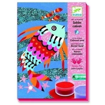 Набор для рисования цветным песком и блестками Djeco Радужные рыбки (DJ08661) Djeco