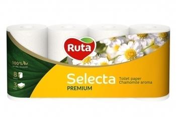 Трехслойная туалетная бумага Ruta Selecta с ароматом ромашки, 8 рулонов Ruta