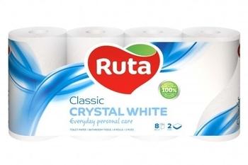 Двухслойная туалетная бумага Ruta Classic, белый, 8 рулонов Ruta