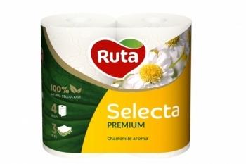 Трехслойная туалетная бумага Ruta Selecta с ароматом ромашки, 4 рулона Ruta
