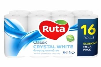 Двухслойная туалетная бумага Ruta Classic, белый, 16 рулонов Ruta