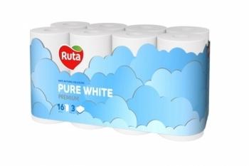 Трехслойная туалетная бумага Ruta Pure White, 16 рулонов Ruta